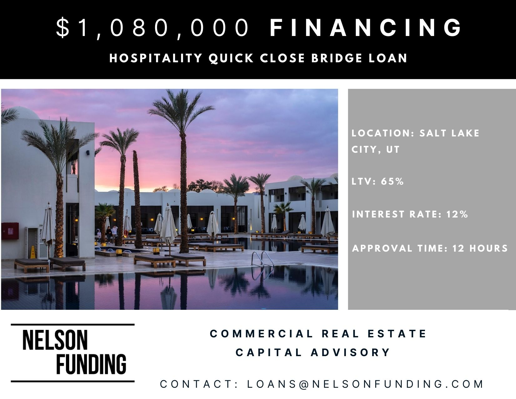 Closes $1,080,000 Hotel Bridge Loan in Salt Lake City, Utah