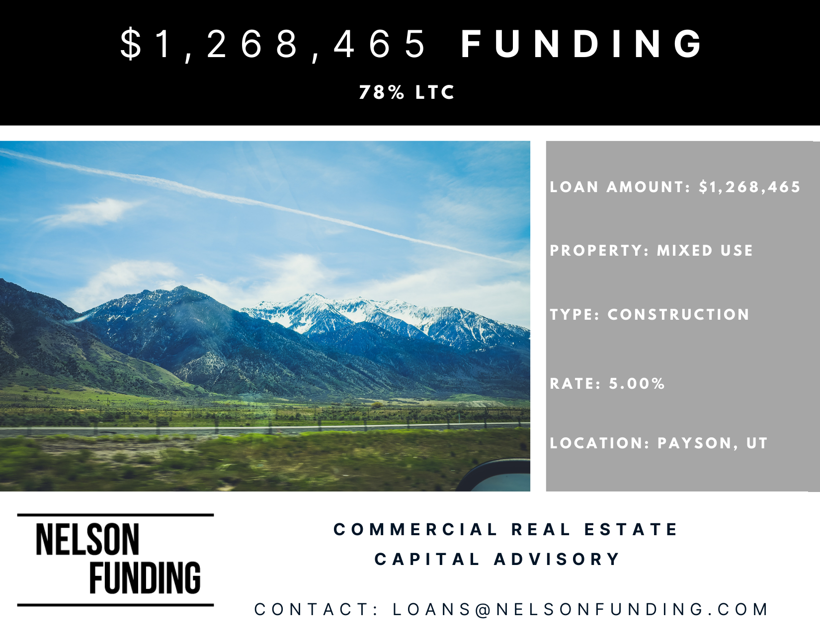 Nelson Funding Closes Construction Loan In Payson, Utah