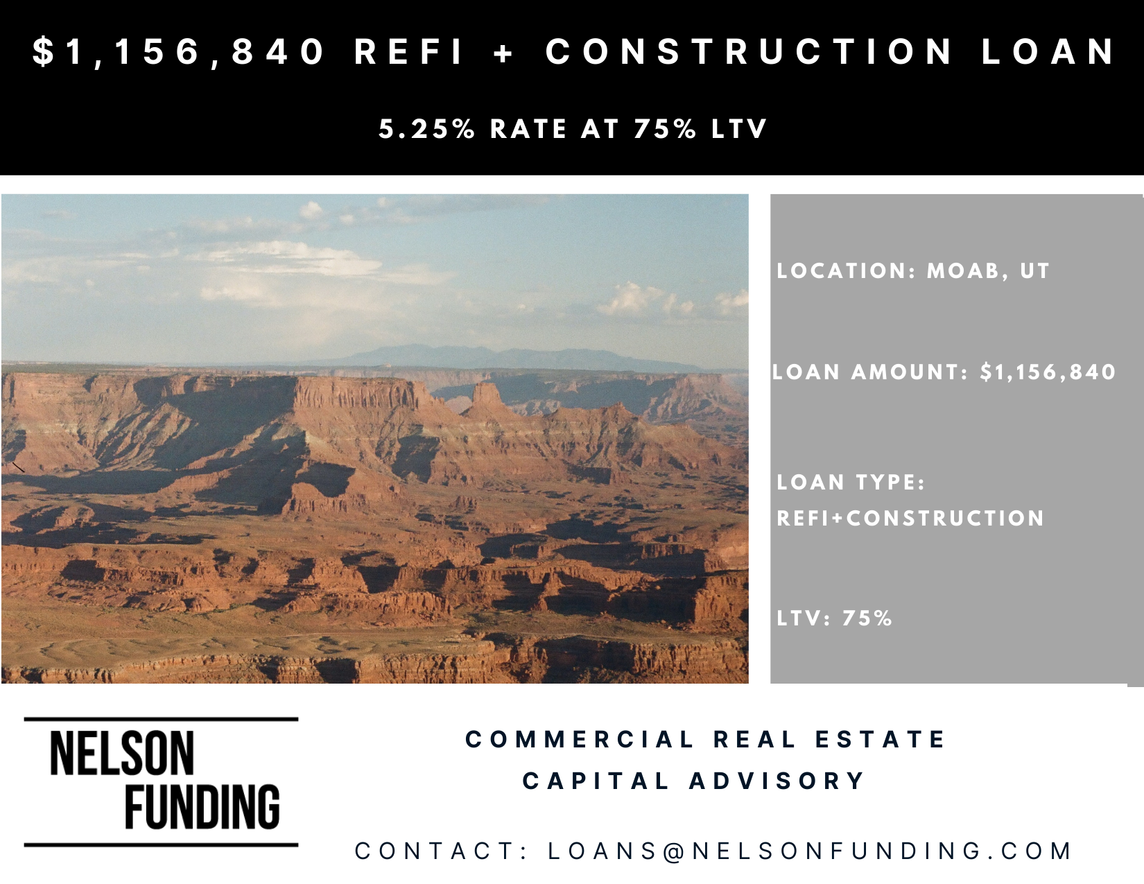 Closes Refinance and Construction Loan In Moab, UT