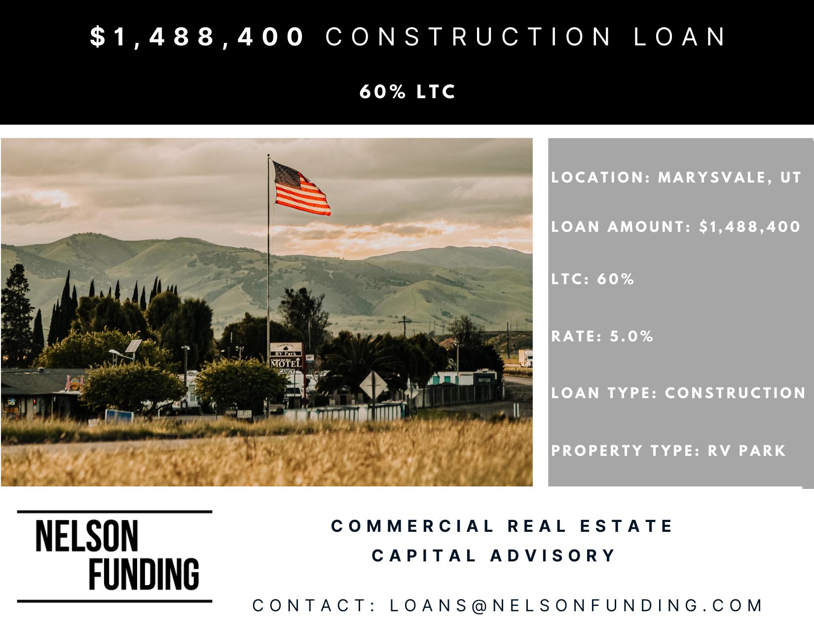 Closes $1,488,400 Construction Loan in Marysvale, UT