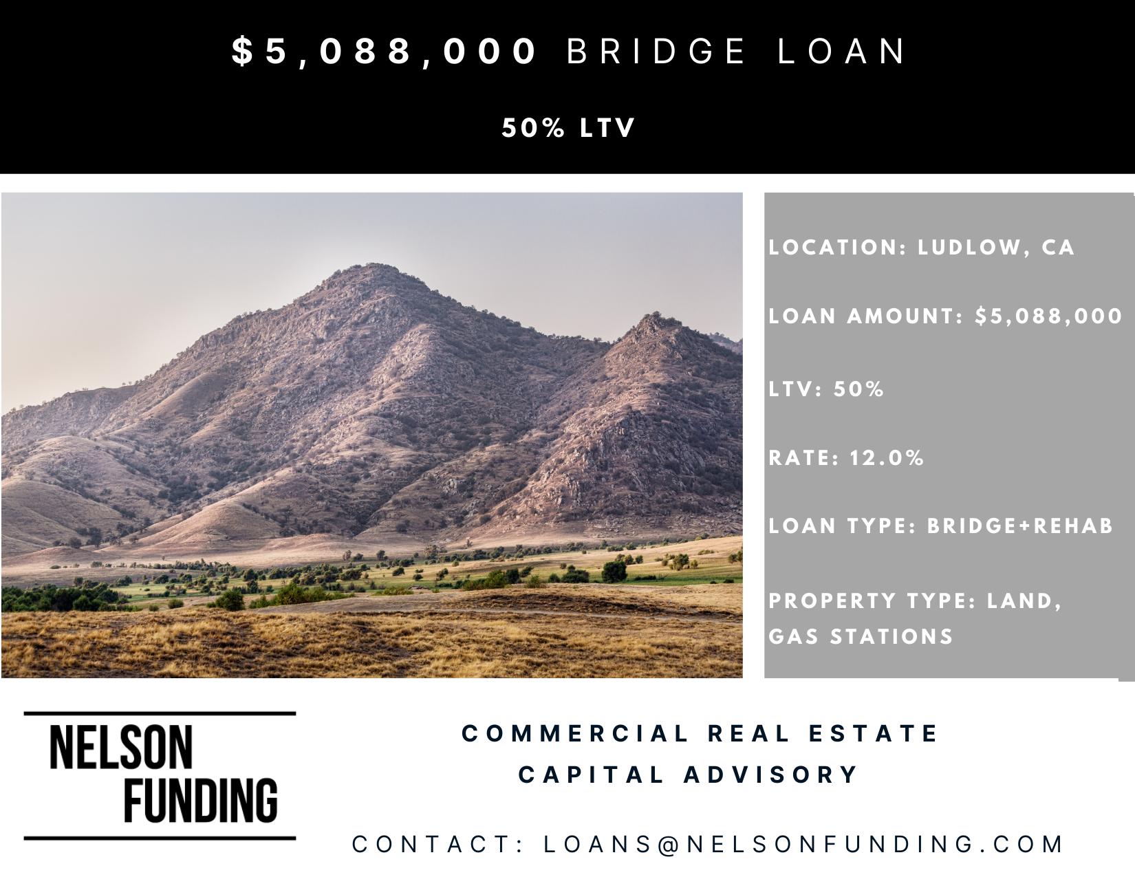 Closes $5,088,000 Bridge Loan in Ludlow, CA